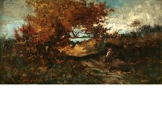 """""""Traveler on a Road,"""" Robert Swain Gifford, oil on panel, 6 1/2 x 12"""", private collection."""