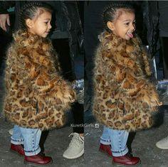 Leopard print baby coat on North West Kardashian