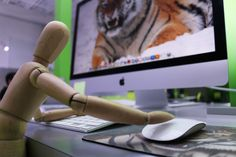 Manny may be a Mannequin, but he's not intimidated by the screensavers on the iMac's used by the members of the art department. #InTheAgency #MannyTheMannequin #Apple #Mac #iMac #marketing #advertising #pr #corporate #business #success #growth #tiger #vision #focus #creative #graphicdesign #media #mediabuying #green #michelsen #michelsenadvertising #Miami