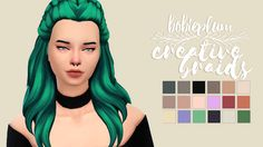 """""""Creative Braids by kiara zurk // recolored • mesh is required,grab it here! • female teen-elder • non-custom thumbnail • please let me know if it has any problems!^^ DOWNLOAD (simfileshare) """""""