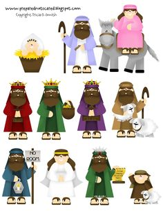 Printable Nativity set. Laminate, glue magnets on the back and put on the fridge for kids to play with...