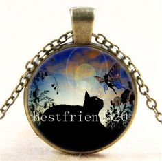 Vintage Black and Fairy Photo Cabochon Glass Bronze Chain Pendant Necklace #Handmade #Pendant