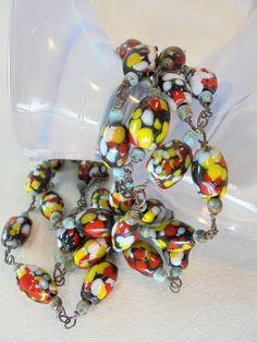 Vintage MILLEFIORI VENETIAN Black Necklace Art Glass Beads Handblown Murano Link #Unbranded #StrandString