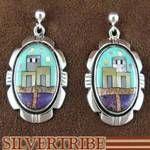 Silver Native American Pueblo or Village Design Multicolor Earrings