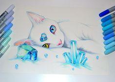 December birthstone - blue topaz by lighane cute animal drawings, cute drawings, beautiful drawings Amazing Drawings, Beautiful Drawings, Cool Drawings, Amazing Art, Cute Animal Drawings, Kawaii Drawings, Cat Drawing, Drawing Sketches, Cat Art