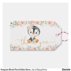 Penguin Blush Floral Baby Shower Birthday Party Gift Tags