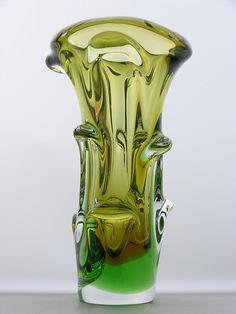 Skrdlovice topaz & green glass vase