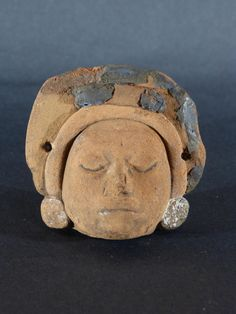 Antique for sale Maya sculpture man's head statue Shaped piece Ceramic Faïence Porcelain Decorative art