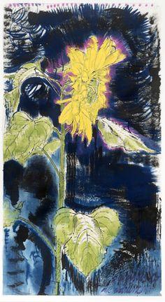 Eric Andriesse Zonnebloem 1987, acryl op papier, particuliere collectie brabantcultureelbrabantliterair