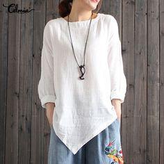 bba294b960ff1 Celmia 2018 Autumn Blusas Women Cotton Linen Blouse White Tunic Top Women s  Asymmetric Hem Blouse Long