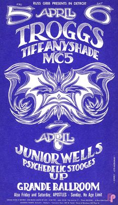1968 Troggs / / Junior Wells / Psychedelic Stooges at Grande Ballroom, Detroit. Art by Gary Grimshaw. Hippie Posters, Rock Posters, Band Posters, Collages, Junior Wells, Decoupage, Music Collage, Vintage Music Posters, Music Flyer