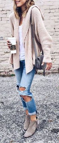 fall fashion beige knit