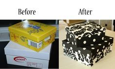 Shoeboxes covered with fabric, so easy and so nice for storage that can be out and seen! Love this idea!