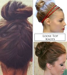 3 Easy Summer Updos- Top Knot Buns