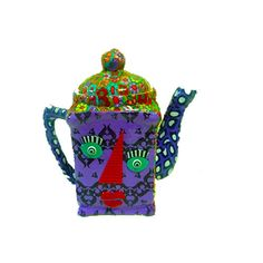 polymer clay and Porcelain teapot 3Dcolorful by MIRAKRIS on Etsy, $75.00