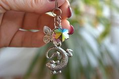 ♥ ♥ Charm keychain with silver Lizard and Butterfly. Ready to shipping ♥ ♥   Charm keychain Lizard key ring Silver Charms Butterfly keyring Bohemian keychains boho charms key chain Nature lover gift animal bag charms