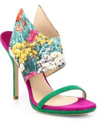 Paul Andrew | Nya Openback Satin and Suede Sandals |  Lyst