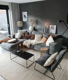 Stylish and cozy interior located in Netherlands.Photo courtesy 2019 Stylish and cozy interior located in Netherlands. Comfortable Living Rooms, Cozy Living Rooms, Living Room Grey, Home Living, Home Interior, Interior Design Living Room, Living Room Designs, Living Room Furniture, Living Room Decor
