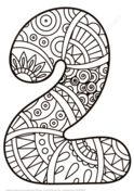 Number 2 Zentangle Coloring page
