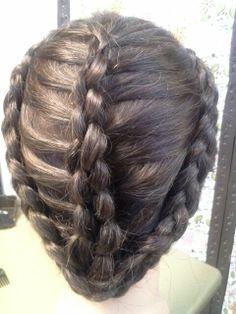 4 Strand circular braid in center and  dutch braids on sides, by Dawn