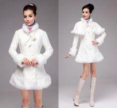 New Women White Fur Detachable Shawls Soft Waist Double Breasted Coat Overcoat #New #FleeceJacket