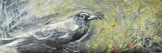 Paul's Crow, Oil on Cradle Board, 24 by 8