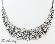 Rhinestone Necklace,Crystal Necklace,Bib Necklace,Statement Necklace,Wedding Necklace,Bridesmaids Necklace, Beaded Choker Necklace(TJ-N0338 on Etsy, $16.99
