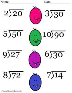 mathwork sheets | Easter Division Worksheet- printable version