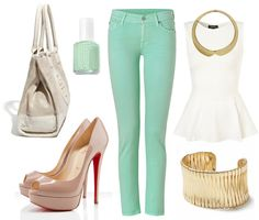 mint + nude, minus the gold jewelry