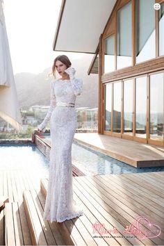 2014 New Fashion Marie Lise Beach Wedding Dress Two Piece Long Sleeve Lace Wedding Dresses Free Shipping 100140696 US $269.77