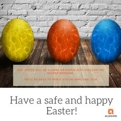 Our office will be closed on March for the Easter weekend. We will be back to serve you on April Have a safe and happy from your friends at Allegion Canada. April 2nd, March, Easter Weekend, Safety And Security, Happy Easter, 30th, Canada, Friends, Happy Easter Day