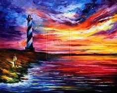 leonid afremov lighthouse | lighthouse - leonid afremov - piece sold by Leonidafremov on ...