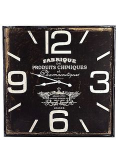 Office Decorator - Square Black Fabrique Clock 60cm