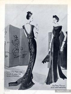 Lucien Lelong & Jean Patou 1936 Christian Bérard, backless black Evening Gown