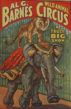 USA - Al G Barnes Circus - Vintage Advertisement Art Print, Wall Decor Travel Poster) Cirque Vintage, Art Vintage, Vintage Signs, Vintage Ads, Vintage Images, Vintage Carnival, Vintage Ephemera, Old Circus, Circus Art