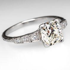 1.21 Carat Cushion Cut Diamond Vintage Engagement Ring