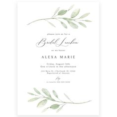 Greenery Bridal Luncheon Invitation | Forever Your Prints