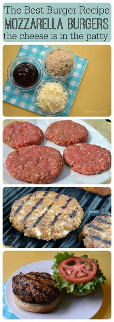 The Best Burger Recipe - Secret Trick: the Cheese is in the Patty! The Best Burger Recipe – Mozzarella Burgers – A Little Tipsy Sie sind an der - The Best Burger, Best Burger Recipe, Good Burger, Best Homemade Burgers, Homemade Turkey Burgers, Ground Turkey Burgers, Burger Bun, Pizza Burger, Grilling Recipes