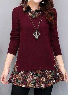 Fashion New Autumn Burgundy Turn down Collar Faux Two Piece Sweater Casual Loose Print Patchwork Long Sleeve Knit Pullover Add an 'underlayer'!trendy tops for women online on saleShop Womens Fashion Tops, Blouses, T Shirts, Knitwear Online Fashion Sewing, Diy Fashion, Fashion Dresses, Color Fashion, Trendy Fashion, Fashion Tips, Sewing Clothes, Diy Clothes, Clothes For Women