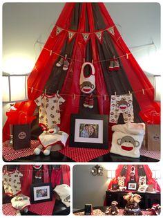 Little Red Wagon Sock Monkey Vintage Toy Baby Shower Invitation