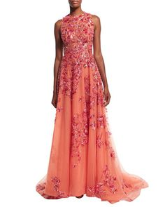 Sleeveless Embellished Gown, Coral by Zuhair Murad at Neiman Marcus.