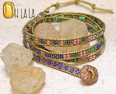 Wrap Bracelet with Crystals and Beads on Gold Leather with Bronze Button by OhlalaJewelry on Etsy