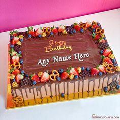 Fresh Fruit Chocolate Birthday Wishes Cake With Name Surprise Birthday Gifts, Birthday Wishes Cake, Chocolate Birthday Cake Images, Chocolate Cake, Online Birthday Cake, Cake Templates, Cake Name, Cake Online, Fresh Fruit