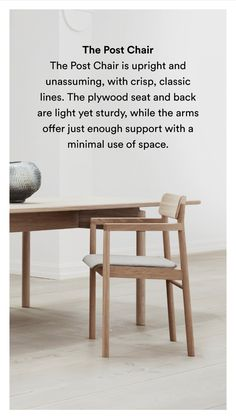 With its upright stance and solid wood frame, the Post Chair embodies the principles of simplicity that drive designer Cecilie Manz.  #ceciliemanz #interiordesign #scandinaviandesign #nordicdesign Nordic Design, Scandinavian Design, Solid Wood, Pure Products, Interior Design, Chair, Frame, Furniture, Collection