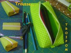 """Looks like a great """"curved over the top"""" zipper tutorial I could apply to lots of things!(trousse_doubl_e_rectangulaire) Coin Couture, Couture Sewing, Sewing Hacks, Sewing Tutorials, Sewing Patterns, Sewing Tips, Waterproof Picnic Blanket, Zipper Tutorial, Blog Couture"""