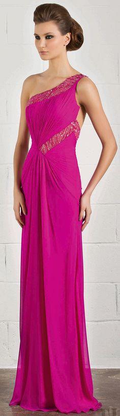 RANI ZAKHEM #oneshoulder #pink #dress
