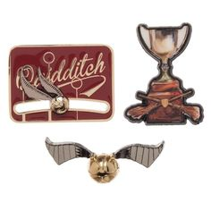 """You get three pins in this set. One pin features the Golden Snitch. Another pin reads """"Quidditch"""" and features a Golden Snitch that can move left or right on it. The last pin features the Quidditch Cup. Harry Potter Age, Potter Box, Harry Potter Quidditch, Harry Potter Style, Harry Potter Gifts, Harry Potter Accessories, Harry Potter Jewelry, Hogwarts, Golden Snitch"""