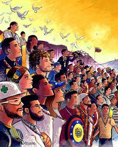 """Los héroes de la Libertad....Son ellos quienes hoy protagonizan una de mis obras con mayor significado, son ellos los que han dejado la vida luchando por un mejor país para todos... Son ellos que hoy llevan la medalla de """"HÉROES DE LA LIBERTAD""""... Son ellos quienes hoy están junto a nuestros proceres... Y es por ellos que hoy debemos seguir adelante, porque el mejor homenaje que podemos darles es que Venezuela sea el pais que soñaron. Hoy a pesar de todo, nos sonríen con esperanza y levantan…"""