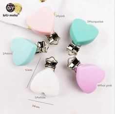 Let's Make Pacifier Clips Silicone Heart Clips - Soother (5pc) Accessories DIY Crafts Baby Teether Pacifier Holder Dummy Clips
