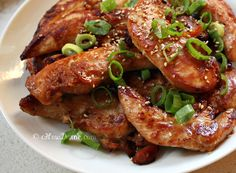 Korean-Style, Soy-Marinated Chicken Makes 4 servings Ingredients 1 – 1 1/4 lb chicken breast tenders (or boneless, skinless chicken breasts pounded into thin pieces) 2 cloves garlic, minced 1 tablespoon agave or honey 2 teaspoon sugar 1/4 cup tamari (gluten-free soy sauce) 1 tablespoon mirin 1 tablespoon toasted sesame oil 1 scallion: optional for garnish toasted sesame seeds: optional for garnish